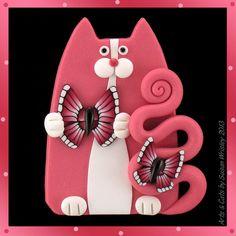 Pink Tuxedo Kitty Cat & Pink Butterflies Spring Pin