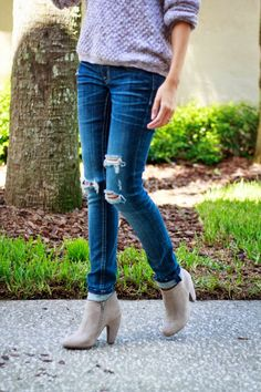 Distressed Denim and Booties