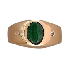 Vintage Men's Natural Jadeite Jade Oval CIO 1.00ct 14k Yellow Gold Ring - petersuchyjewelers