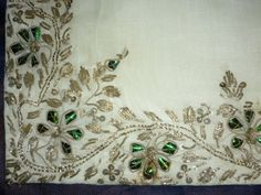Antique beetlewing silver metallic embroidered mat sequins gauze a rare large piece  Madras 1890.