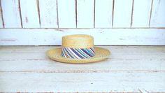 Vintage light tan brown woven straw sun hat/cigar smoking rattan hat/gardening farming sun hat/medium by GreenCanyonTradingCo on Etsy