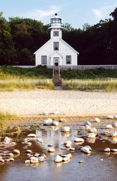 Old Mission Point Lighthouse - Traverse City, MI.where my great great Gramma was the first white girl out on this peninsula. Traverse City Michigan, State Of Michigan, Northern Michigan, Michigan Vacations, Michigan Travel, The Places Youll Go, Places To Go, Old Churches, Lights