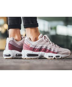 high quality nike air max 95 barely rose with hot punch trainers hot Nike Air Max Trainers, Grey Trainers, Air Max 95 Womens, Nike Air Max For Women, Blue Sneakers, Air Max Sneakers, Air Max 95 White, Air Jordan Trainer, Black Sports Shoes