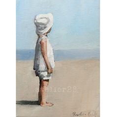 little dreamer: child wearing white sunhat looking out across beach giclee art print