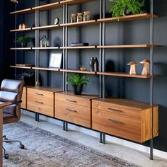Home Office Shelves, Home Office Setup, Office Ideas, Office Workspace, Corner Shelves, Office Chairs, Lounge Chairs, Club Chairs, Wall Shelves