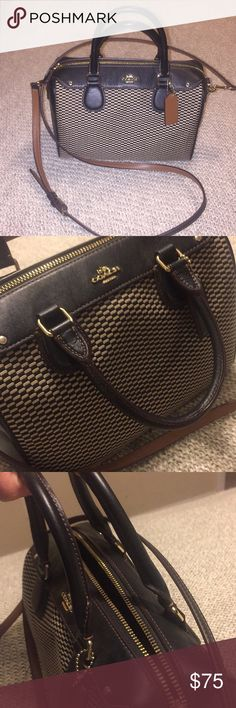 "Coach convertible crossbody satchel EUC!! Measures 7.5"" Length by 9.5 width and about 4.5"" front to back.  A nice neutral color blend for a wear anytime look (black, chocolate brown/maroon and nudes).  All season and on trend!  Adjustable removable crossbody strap and satchel handles with no signs of wear except a small indentation from hanging by them.  Worn only a handful of times!  Amazing deal for an almost new Coach bag! Coach Bags"