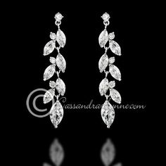 CZ Wedding Earrings with a Marquise Vine Design from Cassandra Lynne