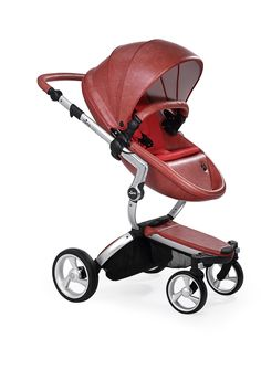 Mima Xari - Sicilian Red Seat, Ruby Red Starter Pack | The only stroller made with leatherette fabric, the Mima Xari is more than a pretty face. With a chic design and advanced features, this highly-customizable stroller strikes the perfect balance of fashion and functionality.