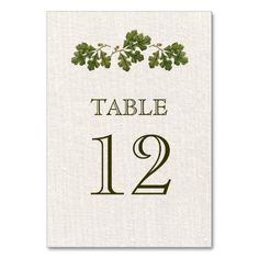 Elegant Vintage Oak Leaves Design with burlap texture effect background Personalized Wedding Table Number Cards. Matching Wedding Invitations, Bridal Shower Invitations, Save the Date Cards, Wedding Postage Stamps, Bridesmaid To Be Request Cards, Thank You Cards and other Wedding Stationery and Wedding Gift Products available in the Vintage Design Category of the Best Day Ever store at zazzle.com