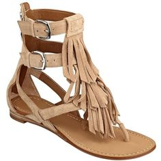 GUESS Barin Fringed Suede Sandals ($90) found on Polyvore