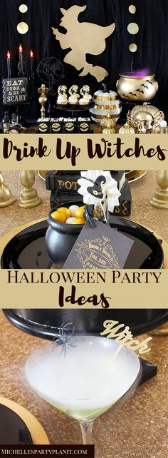 """A fab Gold and Black Witch themed Halloween Party, perfect for girls night! Lot's of DIY ideas for the perfect """"Drink Up, Witches"""" party by Michelle's Party Plan-It."""