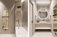 Check out this beautiful apartment created by Huge Studio  on nazzainteriordesign.com  #apartmentdesign #livingroom #kitchen #minimalistdesign #interiordesign #passionforinteriors #amazingspaces #bright #bathroom #bathroomdesign #masterbathroom