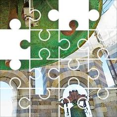 Bell in Campanile Jigsaw Puzzle, 70 Piece Bulbs. Bell in a stone campanile bell tower.    Brass bell is green with