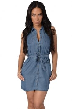 US$ 7.2 Dark Wash Belted Denim Shirt Dress