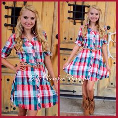 """https://instagram.com/ladycherokeeboutique Sweetheart's Dance RED, TEAL, MINT, WHITE PLAID BUTTON DRESS ✨Chandler is wearing a Small and is 5'7✨  Price: $38.00, Free Shipping Qty: 2 small, 3 medium, 1 large  Please comment """"Sold"""", State, Size, and quantity needed, as well as your email to purchase. Also, you must let us know what state you live in, before we can invoice you!"""