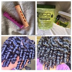 """IG: @chronicurls is featuring our Eco Styler Olive Oil gel for perm rod tutorial. She uses the gel over top to add hold and shine. """"And even with the gel my hair is still bouncy and light-weight,not crunchy, no flakes"""". #ecocobeauty"""