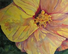 """Wonderful crinkles, textures, neat structures, and shadows make this hibiscus painting perfect for your home! """"Yellow Hibiscus Flower"""" Art Print of Original Watercolor Painting by Barbara Rosenzweig. Click Pic to Buy Now."""