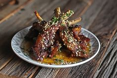 Sichuan Honey Glazed Lamb Ribs - The Food in My Beard, sponsored by American Lamb Best Lamb Recipes, Goat Recipes, Rib Recipes, Gourmet Recipes, Asian Recipes, Whole Food Recipes, Ethnic Recipes, Asian Foods, Chinese Recipes