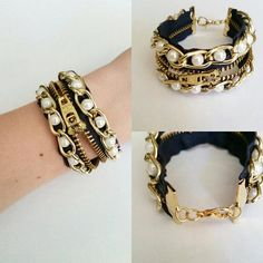 Zipper bracelet with pearl and gold chain