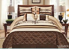 7 Pieces Complete Bedding Ensemble Beige Brown Gold Luxury Embroidery Comforter Set Bed-in-a-bag Queen Size Bedding- Yasmen ** Check this awesome product by going to the link at the image.