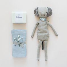 BABY BOY • Doudou chien Maileg • Savon naturel Enfance • Lange Bleu ciel Moumout' •