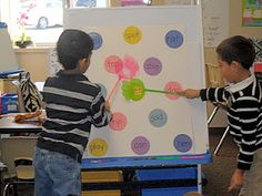 Another way to set up the swat a sight word game. laminate the board with dots. Then you can use dry erase marker to write sight words, math facts, whatever. Teaching Sight Words, Sight Word Games, Sight Word Practice, Spelling Practice, Spelling Activities, Sight Word Activities, Literacy Centres, English Activities, Ideas