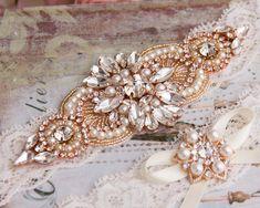 Rose Gold Wedding Garter set Ivory Bridal Garter by GarterQueen