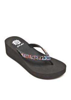 ab18be2da2ee77 Yellow Box Adora Stone Wedge Flip Flop Sandalss Wedge Flip Flops