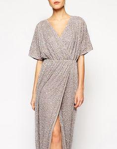 ASOS Sequin Kimono Maxi grey dress