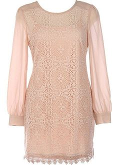 At Last Long Sleeve Lace Dress - Nude $48.00