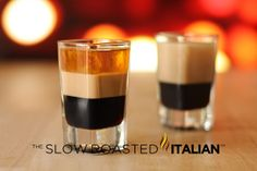 Layered Cocktail Shooter: coffee liqueur, irish cream and orange liqueur.swap the orange for Frangelico (hazelnut) and you have a shooter.this could be fun for a holiday party!