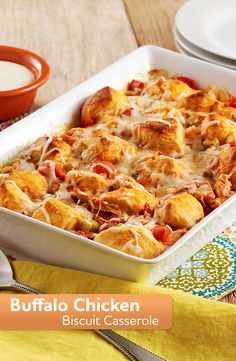 Enjoy a warm casserole this weekend! Try this recipe for Buffalo Chicken Biscuit Casserole made with rotisserie chicken, buttery biscuit pieces, hot sauce, tomatoes, celery and cheese. Pollo Buffalo, Buffalo Chicken, Chicken Biscuit Casserole, Casserole Recipes, Casserole Dishes, Beef Casserole, Dinner Recipes, Dinner Ideas, Tea Recipes