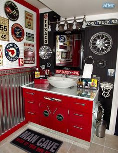 Better After: In The Auto Zone - Man Cave Bathroom - How to make  a brand new vanity sink with an old borring one. Checker plate with bright red - soooo manly :-)