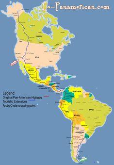 Pan-American Highway, end to end, crosses Canada, USA, Mexico, Guatemala, El Salvador, Honduras, Nicaragua, Costa Rica, Panama, Colombia, Ecuador, Peru, Chile and Argentina