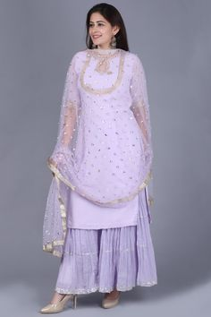 Lavender Georgette Short Kurti with Gathered Sharara and Sequence Pearl Dupatta anokherang Dress Indian Style, Indian Dresses, Indian Outfits, Sharara Designs, Kurti Designs Party Wear, Ethnic Fashion, Indian Fashion, Woman Fashion, Ladies Fashion