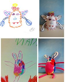 So cool! You can send in pics that your child drew and this company will make them into real monster stuffed animals!