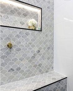 Most Popular master bathroom shower tile white Ideas Grey Bathroom Tiles, Bathroom Tile Designs, Laundry In Bathroom, Bathroom Interior Design, Small Bathroom, Master Bathroom, Bathroom Photos, The Block Bathroom, Master Shower
