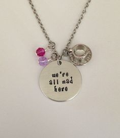 """Disney inspired Alice in Wonderland necklace """"we're all mad here"""" Disney jewelry charm necklace Ches Disney Necklace, Ruby Necklace, Ruby Jewelry, Disney Jewelry, Turquoise Jewelry, Charm Jewelry, Jewlery, Ladies Jewelry, Geek Jewelry"""