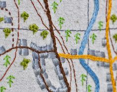 Textiles artists gallery of work by Anne Biss. Hand embroidered, books, maps, calligraphy, letters, boxes, and wall pieces. Stitched textiles. Member of the Society of Designer Craftsmen. Embroidery Map, Cross Stitch Embroidery, Haptic Lab, Map Quilt, Stitch Pictures, Textiles, Map Design, Calligraphy Letters, Textile Artists