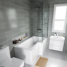 L Shaped Baths Ideas - Home Interior Design Ideas L Shaped Baths Ideas Right Hand L-Shaped Bath with thick Screen, rail & front panel… Bathroom Renos, Bathroom Layout, Bathroom Interior, Modern Bathroom, Small Bathroom, Bathroom Ideas, Bathroom Remodeling, Master Bathrooms, Remodeling Ideas