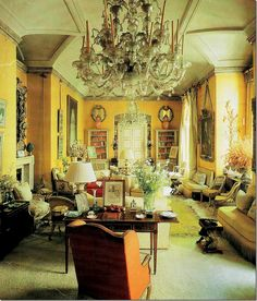 Nancy Lancaster, 1950s. One of the more famous interiors, the yellow drawing room by Nancy Lancaster and John Fowler features both English and French antiques.