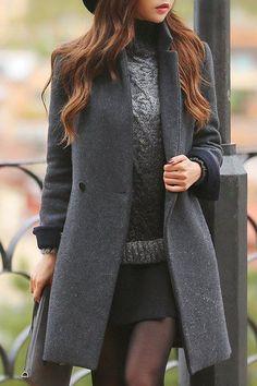 Elegant Lapel Gray Long Sleeve Coat For Women