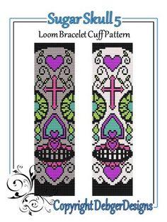 Loom Bead Patterns | Sugar Skull 5 - Loom Bracelet Cuff Pattern | DebgerDesigns - Patterns ...