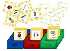 """Ein kleines Kartenspiel zu den Begleitern/Artikeln. Mit einem Begleiter-Würfel werden """"der"""", """"die"""" oder """"das"""" gewürfelt. Danach muss ein Bi..."""