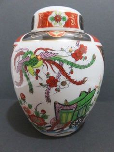 Vintage Ginger Jar Rooster Bird with Flowers & Green Wagon Porcelain Asian 5.5""