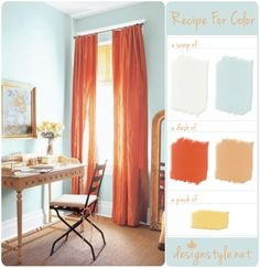 Light Blue and orange - proof that I may find a shade I like to paint the dining room.  @Colleen Meeks, I'm gonna need to pick that decorating brain of yours soon!