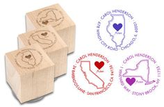 Love from My State Block Rubber Stamp
