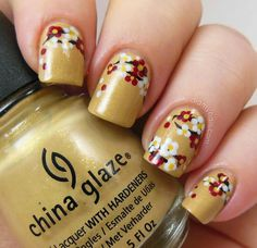 Mustard seed yellow - White - Brick red - Black - Yellow - Flowers - Nail design