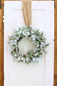 Lambs ear wreath, hostess gift, modern farmhouse, farmhouse decor, gift for her, wedding gift, wedding decor, gift for Mom, gift for her