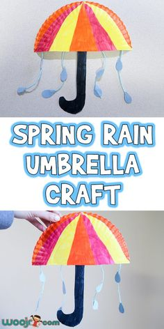 Let's make this Spring Rain Umbrella Craft today. It's great to make in the classroom as a U is for umbrella letter unit, a weather unit, or just for fun. Daycare Crafts, Classroom Crafts, Preschool Activities, Spring Craft Preschool, Science Classroom, Spring Arts And Crafts, Spring Art Projects, Weather Crafts, Weather Activities